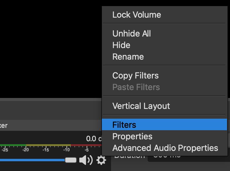 A screenshot of OBS audio source menu.